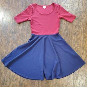 Lularoe Nicole A-Line Red/Navy Blue Dress Large